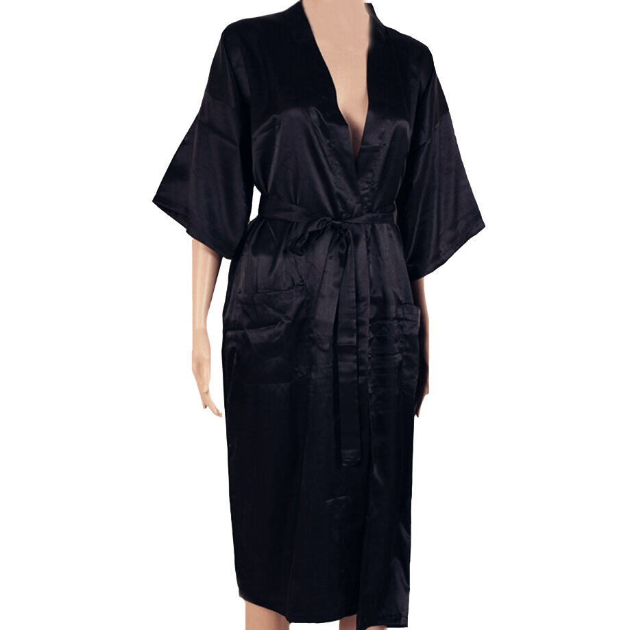 Sexy New Black Men Silk Long Kimono Robe Gown Solid Color Sleepwear Summer Casual Nightgown Plus Size S M L XL XXL XXXL S0026