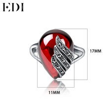 EDI Fine Jewelry Red Garnet Retro 925 Sterling Silver Ring Engagement Rings For Women Female Jewellery
