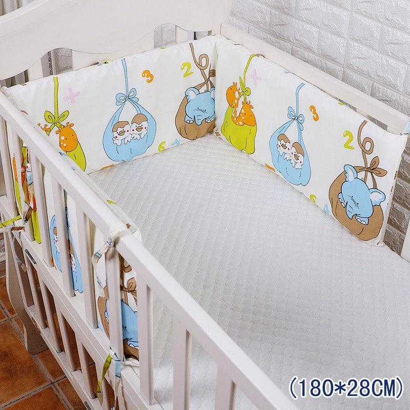 Купить с кэшбэком Cute Cartoon Style Baby Bed Thicken Bumpers One-piece Crib Around Cushion Cot Protector Pillows 9 Colors Newborns Room Decor
