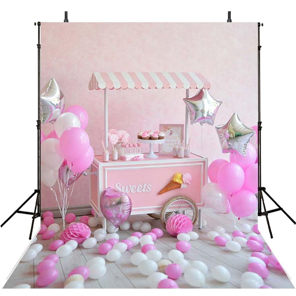 Partie Photographie Décors Heureux D'anniversaire Toile de Fond Pour La Photographie Filles Ballons Fond Pour Photo Studio Foto Achtergron