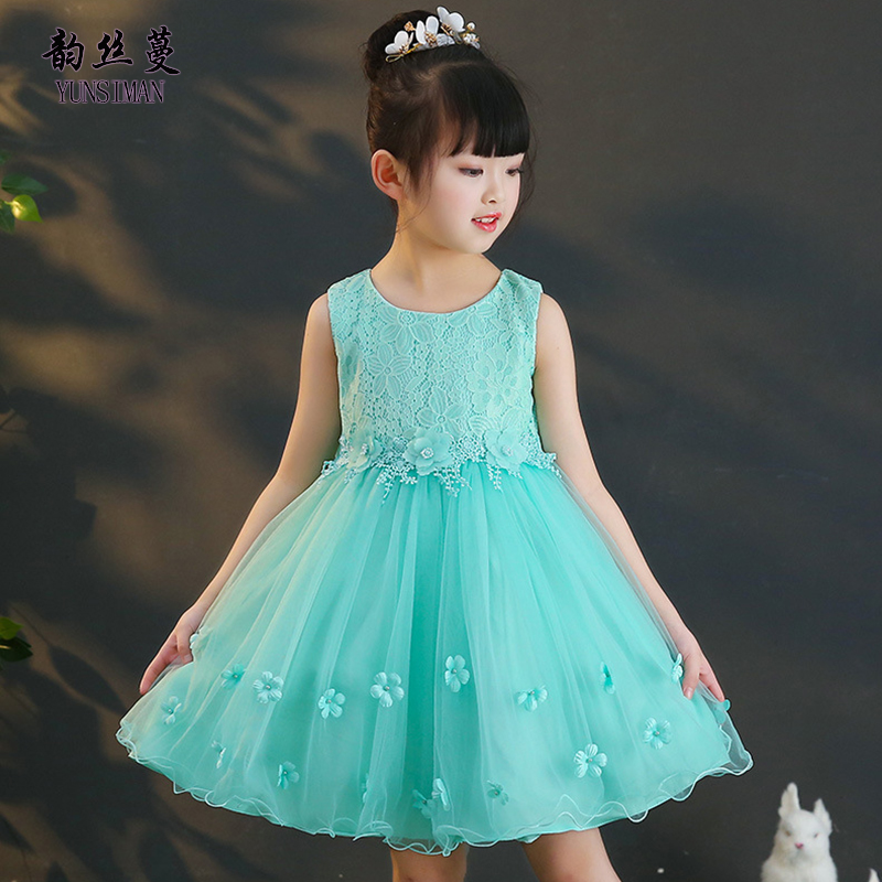 New Kids Girls Flower Dress Summer 2018 Children Green Lace Party Princess Dresses Girl Teens Clothes Cute Dress 4 - 12 Y M810A hayden vintage lace flower girls dresses summer costume for teens girl children clothing kids clothes girls party frocks designs