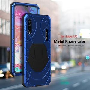 Image 3 - 電話ケース A70 ハードアルミニウム金属強化ガラススクリーンプロテクターカバ保護シリコンカバー