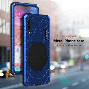 Image 3 - Telefoon Geval Voor Samsung Galaxy A70 Hard Aluminium Metal Gehard Glas Screen Protector Cover Zware Bescherming Silicon Cover