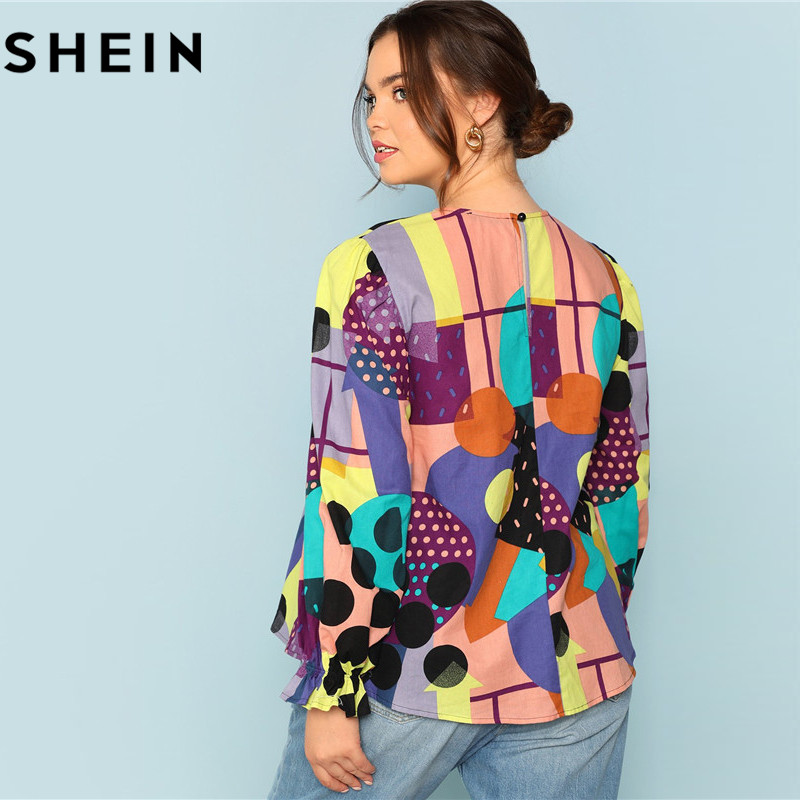 SHEIN Cotton Linen Multicolor Geometric Print Preppy Plus Size Women Blouses 2018 Fashion Long Raglan Sleeve Ruffle Cuff Top  1