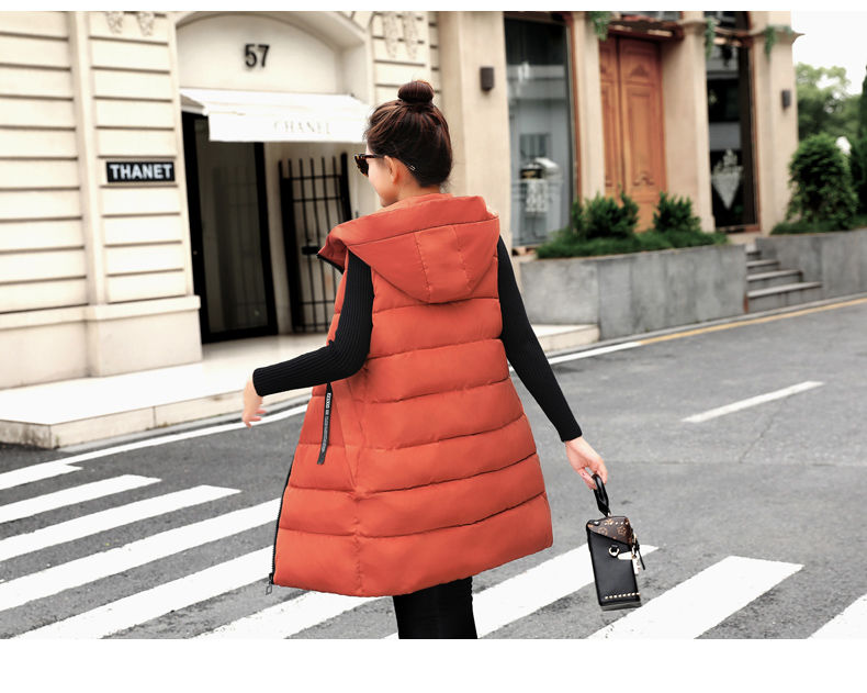 Autumn Winter Women Waistcoat Sleeveless Vest Jacket Hooded Warm Long 20