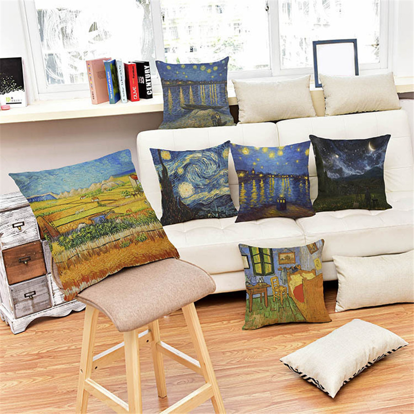 45X45cm Van Gogh Oil Painting Style Cushion Cover Linen Cotton Pillow Case for Sofa Car Chair Gift cojines Free Shipping