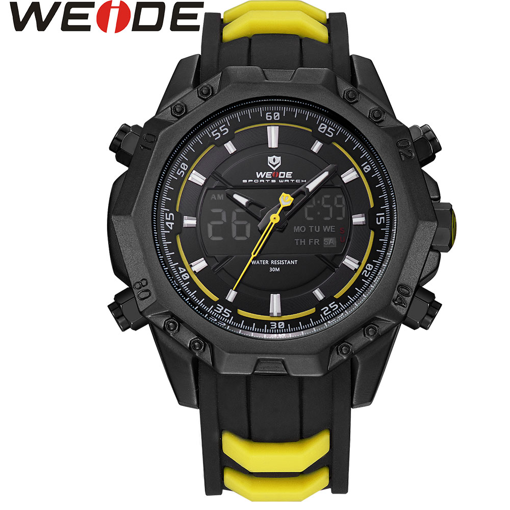 WEIDE WH6406 Mens Quartz Watches Top Brand Luxury Alarm Clock Waterproof Sport Wristwatch Analog Digital Electronic LCD Watch