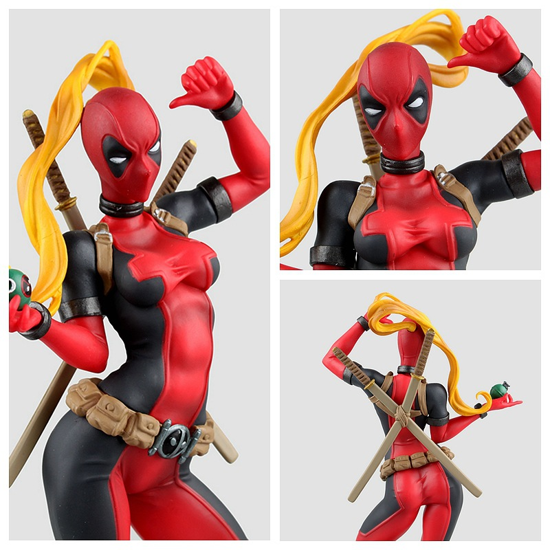 24cm Marvel Crazy Lady Deadpool Figure Toys X-men Bishoujo Statue Doll PVC Action Figure Collectible Model Toy fire toy marvel deadpool pvc action figure collectible model toy 10 27cm mvfg363