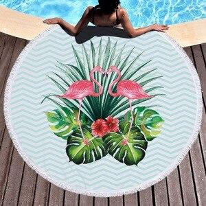 Image 3 - Microfiber Flamingo Printed Round Tassel Beach Towel