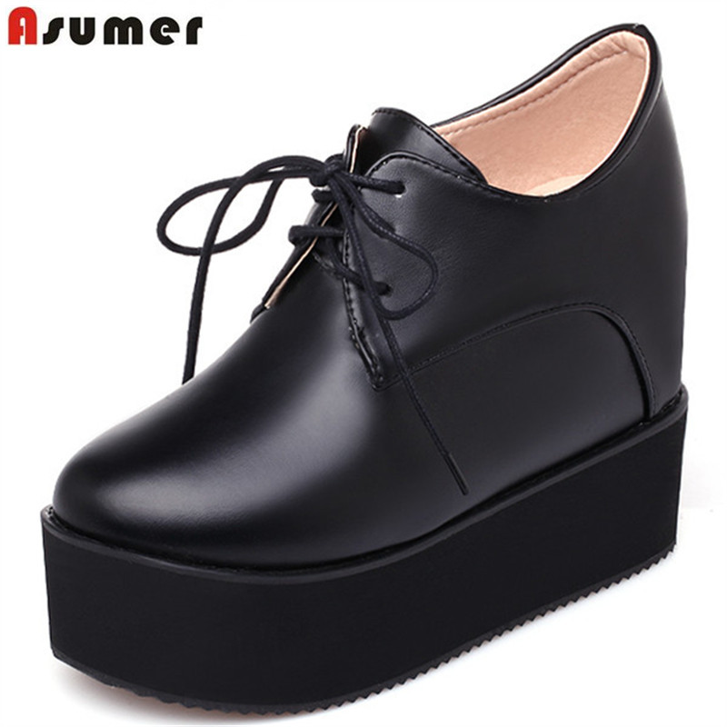 ASUMER 2018 spring autumn new arrive women pumps fashion lace up solid color high heels shoes platform increased internal shoes casual increased internal and lace up design athletic shoes for women