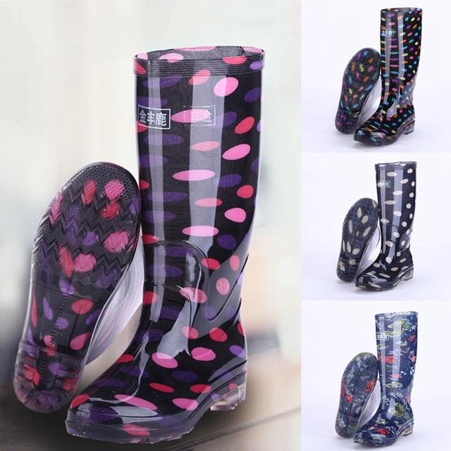 Novas Mulheres Chegada Botas de Chuva Anti-Slip Calçados Wellies Wellington Botas de Salto Alto À Prova D' Água Sapatos de Água