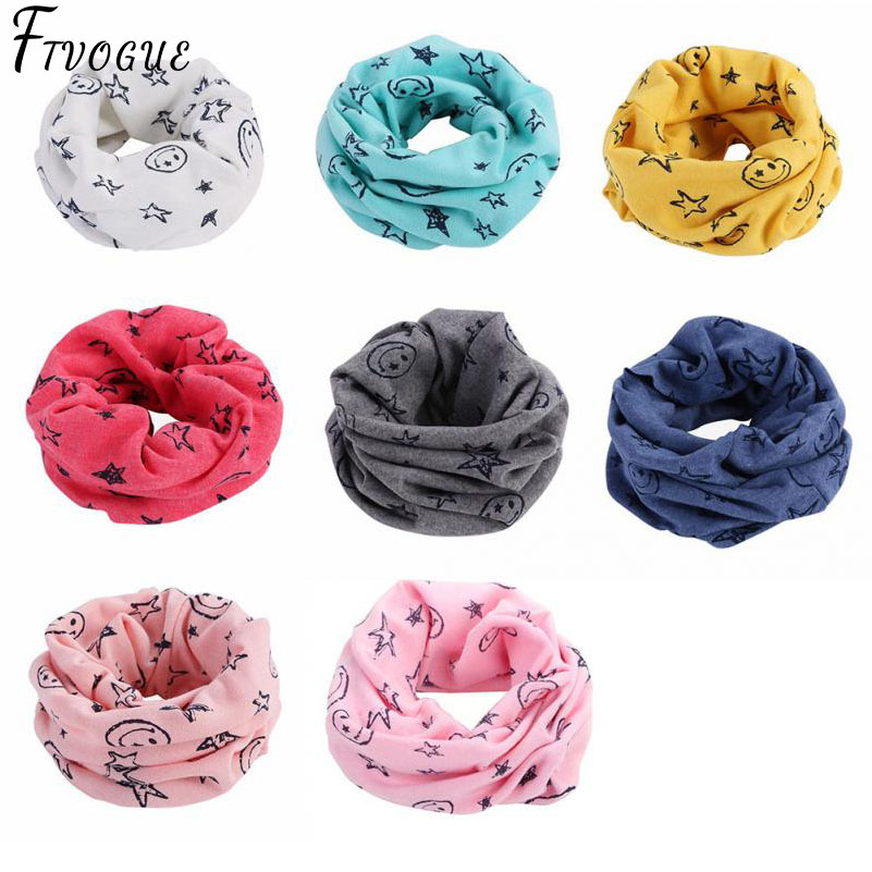 Neck Scarves Shawl Foulard O-Ring Smile-Face Autumn Multicolor Children Warm Winter Cartoon