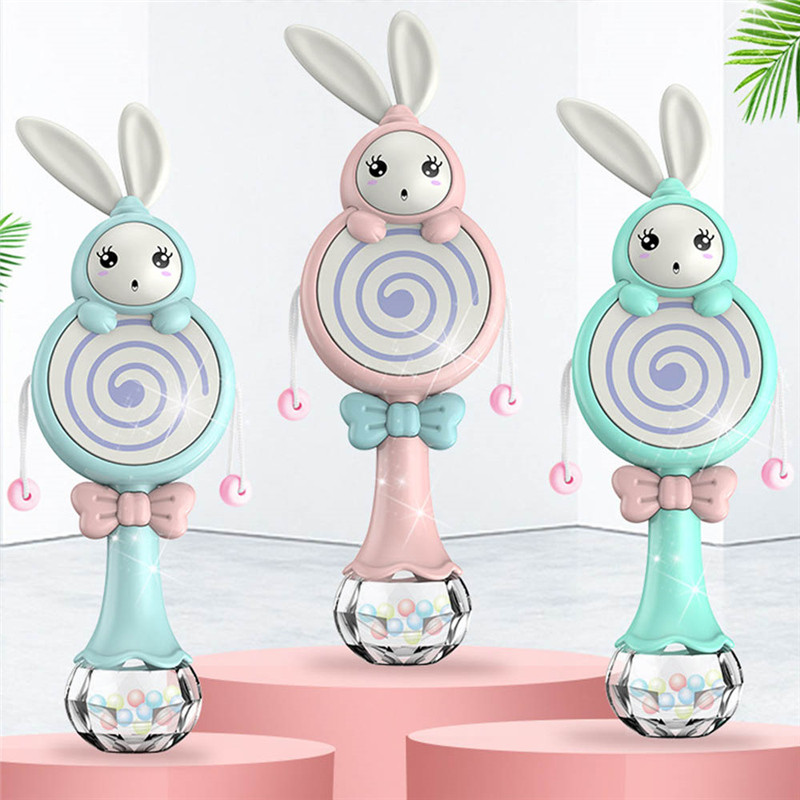 Baby Teether Hand Bell Rabbit Style Toys Mobile Musical Rattle Soft Teether Interactive Toy Xmas Birthday Gifts Educational Toys