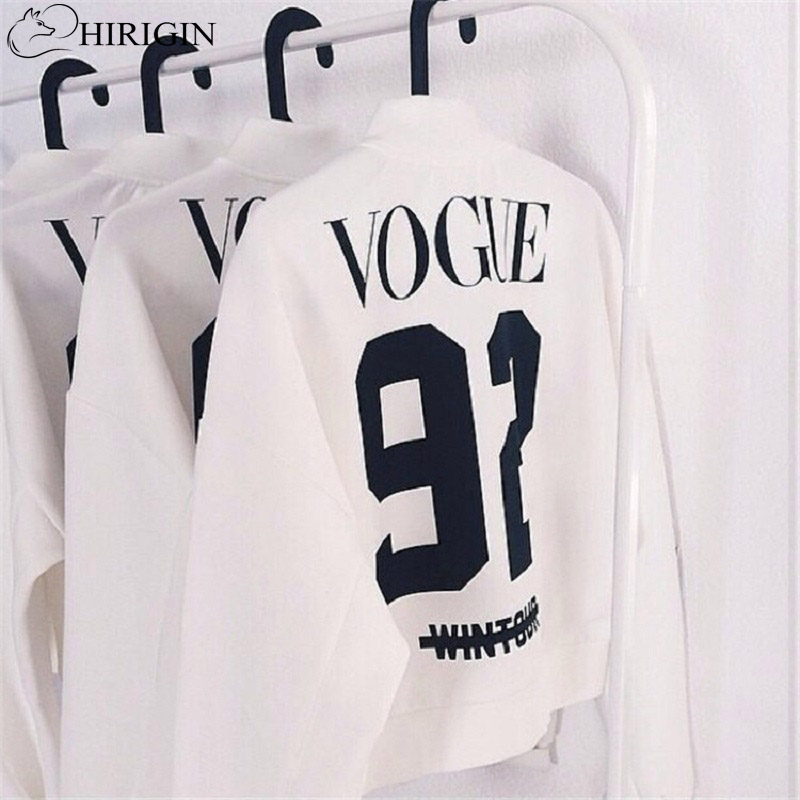 Basic Jackets 2017 Fashion Long Sleeve Letter Jacket Print VOUGE 92 Bomber Jacket Women Casul Coats Feminino chaquetas mujer