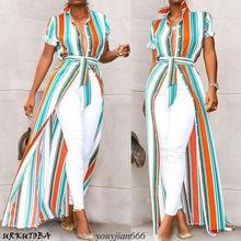 Women Short Sleeve Asymmetrical Stripes Shirt