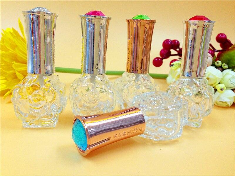 nova 50pcs10ml portatil subiu estilo frascos de spray de perfume de vidro com tampa de prata