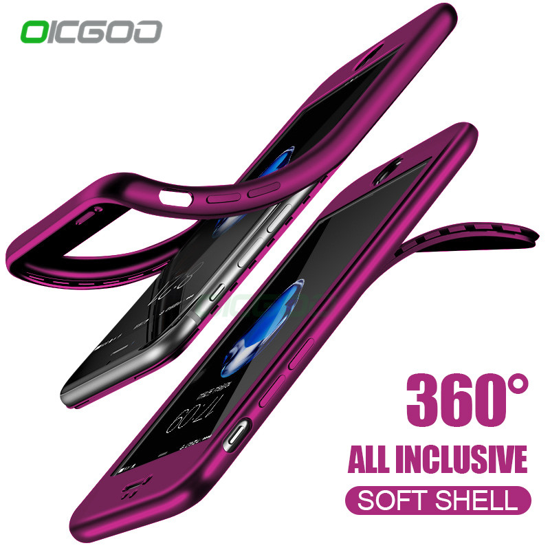 OICGOO Fashion 360 Silicon Soft TPU Phone Case For iPhone 7 8 6s 6 Plus 5s SE Full Cover Cases For iPhone 5 6 7 Case With Glass
