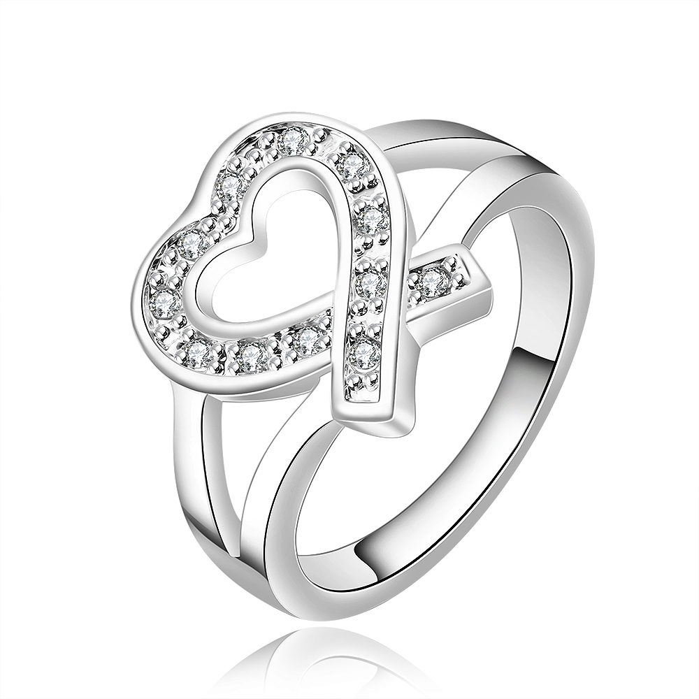 Top quality Silver Plated & Stamped 925 For Women cross open heart crystal stone ring for girls wedding Finger Rings Wholesale