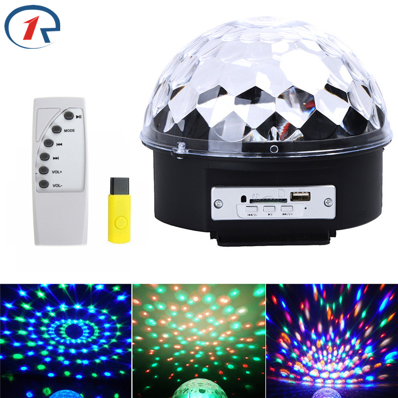 ZjRight IR Control USB music Crystal Magic Ball RGB effect Light disco ktv bar Christmas Halloween Holiday party colorful effect