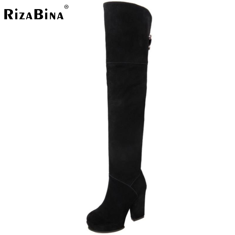 RizaBina Free shipping over knee natrual real genuine leather high heel boots women snow winter warm shoes R1907 EUR size 34-39 free shipping ankle short natrual real genuine leather high heel boots women snow warm shoes r4624 eur size 34 39