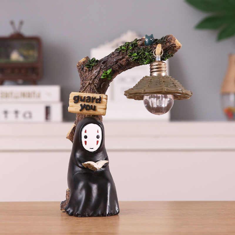 اليابان ستوديو جيبلي Kaonashi لا وجه رجل Totoro LED ليلة ضوء دمية ميازاكي هاياو حماسي بعيدا الراتنج عمل الشكل الاطفال لعبة