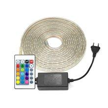 AIMENGTE 슈퍼 밝은 220V LED 스트립 빛 1M/2M/3M/4M/5M/10M/15M 방수 LED 실내 옥외 장식 테이프 EU 플러그