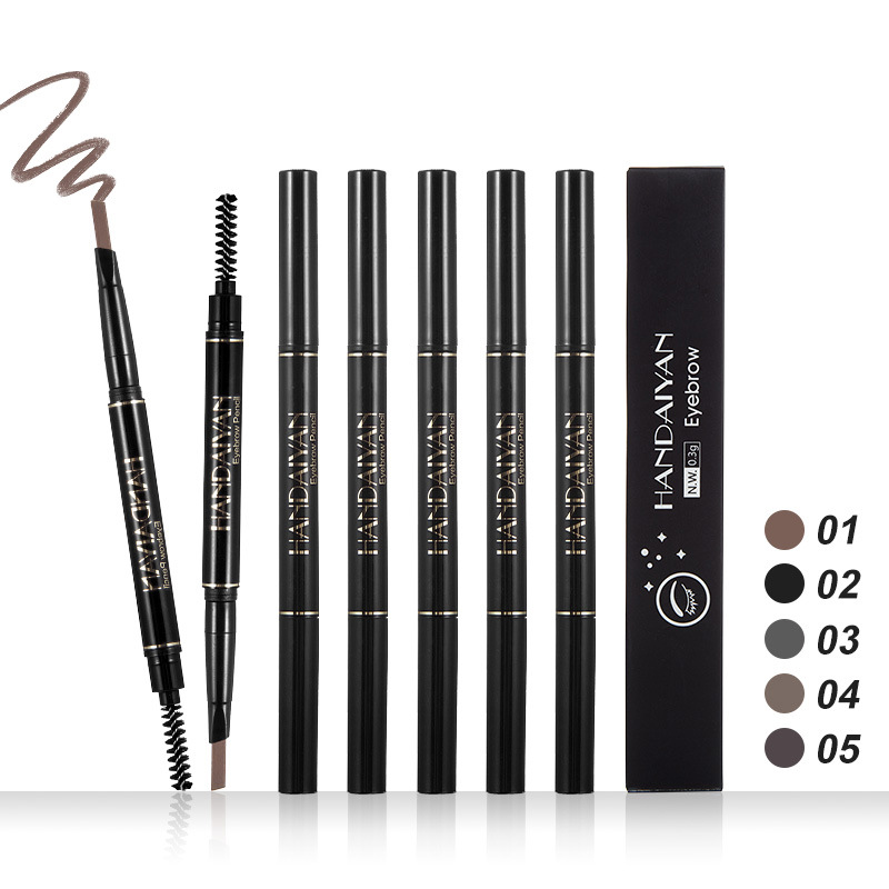 2019 5 Color Double Ended <font><b>Eyebrow</b></font> Triangle Pencil Waterproof Long Lasting No Blooming Rotatable Eye Brow <font><b>Tatoo</b></font> <font><b>Pen</b></font> image