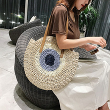 2020 Round Straw Bags Women Summer Rattan Bag Handmade Woven Beach Cross Body Bag Circle Bohemia Handbag Bali bolso paja