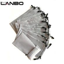 LANBO 100 pcs 안경 케이스 소프트 방수 화이트 블랙 격자 무늬 천 도매 선글라스 가방 안경 파우치 케이스 품질 S19