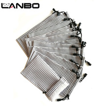 Lanbo 100 個メガネケースソフト防水白黒のチェック柄布卸売サングラスバッグ眼鏡ポーチケース品質 S19