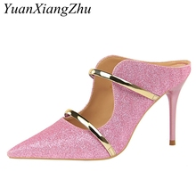 Women Pumps Sexy High Heel Slippers 2018 New Sequined Cloth Shallow Ladies High-heeled Sandals Fashion Wedding Party Shoes