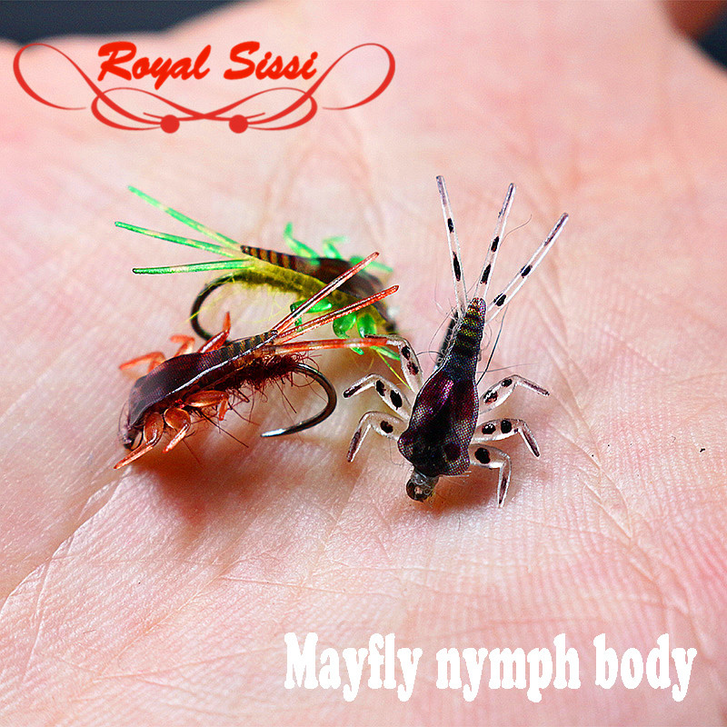 где купить 20pcs/pack 3colors Mayfly nymph rubber body with Thin skin fly fishing artificial nymph flies fly tying nymph leg&body materials по лучшей цене