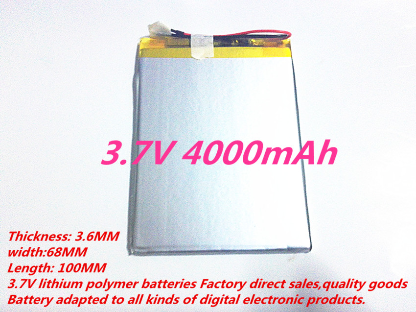 Free shipping 3 7V 4000mAh 3668100 Polymer Lithium Li Po Rechargeable Battery For DIY Mp3 MP4