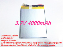 Free shipping! 3.7V 4000mAh 3668100 Polymer Lithium Li-Po Rechargeable Battery For DIY Mp3 MP4 MP5 GPS PSP e-book