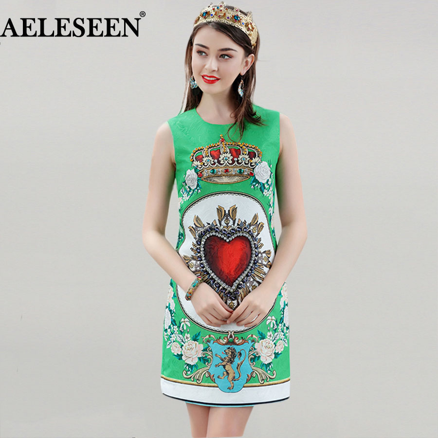 Women Casual Mini Dresses Top Fashion Sleeveless 2018 Jacquard High Quality Early Spring Green Print Diamonds New Arrival Dress
