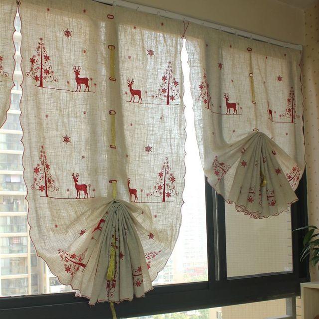 Rot Rudolph Weihnachten stil ballon vorhang Leinen Pull Up vorhang ...