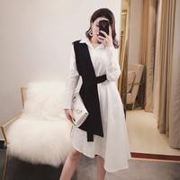 [MENKAY] 2018 Spring New Fashion Two Piece Vest Belted High Waist Black White Long Sleeve Shirt irregular Flutter Dress Women
