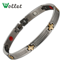 Wollet Healing Christmas Gift High Quality Gold Color Tourmaline Infrared Germanium Magnetic Pure Titanium Bracelets