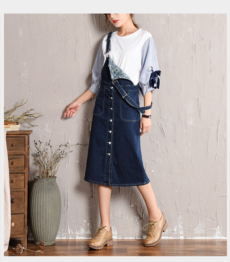 Large size strap dress women's 2018 autumn new Korean skirt denim dress light student long skirt (11)