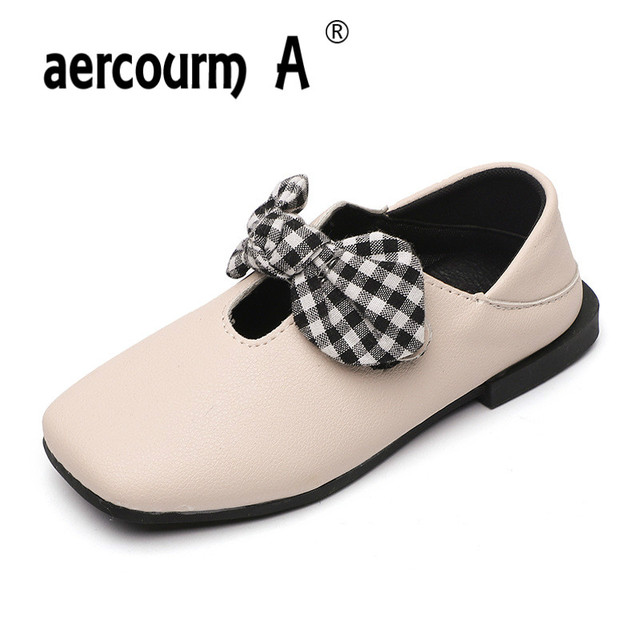 2018 Kids Low-heels Shoes Girls Spring Autumn Soft Bottom Square Shoes  Children Lattice Bow Princess Shoes Solid New Arrival d58f9012861c