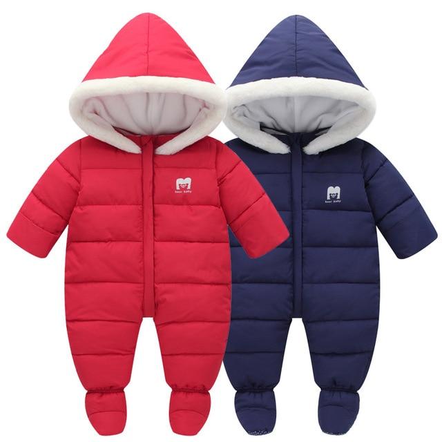 9c082e5fdb2 Winter Baby Snowsuit Boys Girls Overalls Bodysuit Jumpsuit Newborn Thicken  Down Cotton Rompers Baby Clothes Infant Snow Wear