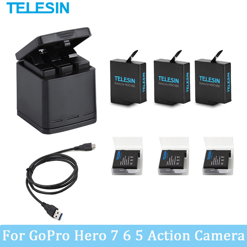 1220mAh Battery WithThree Ports USB Charger For GoPro Hero 6 5 7 Black Camera Go Pro (2018) Action Camera Charging Accessories