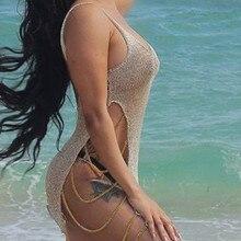Женская купальная накидка привлекательное кружевное вязаное Сетчатое пляжный купальник платье с цепочкой бикини