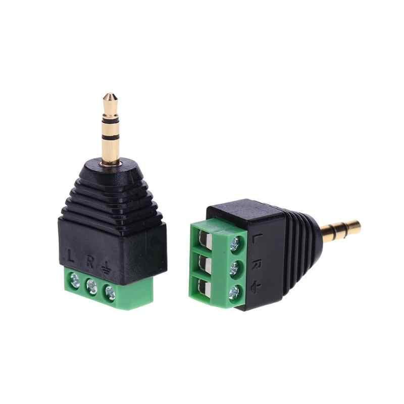 2 sztuk podwójny kanał Terminal Audio męski złącza wtykowe adaptery 3-polak mężczyzna Audio Jack wtyczki Stereo słuchawki DIY złącza