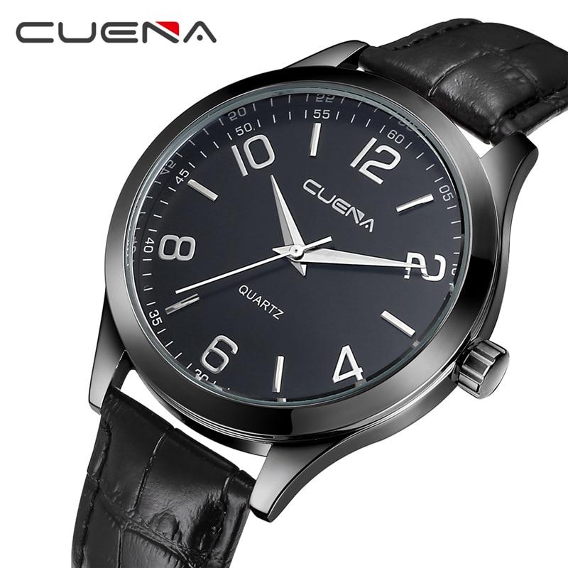 Cuena marca homens relógio de quartzo relógio de couro genuíno - Relógios masculinos