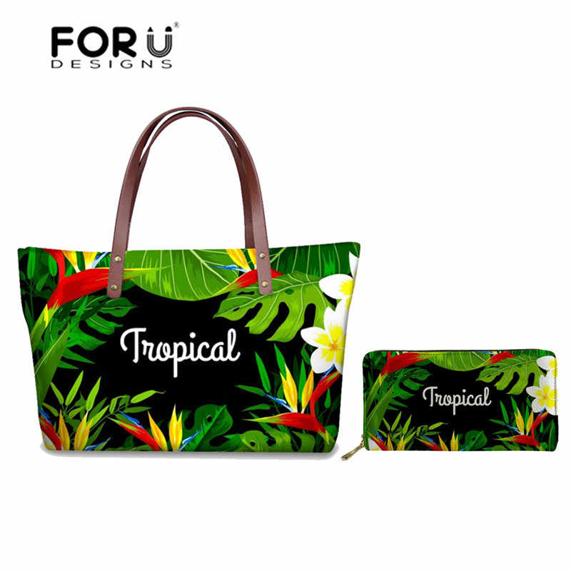 FORUDESIGNS Women's Handbags Tropical Leaves Printing Leather Purse Ladies Top-handle Bags for Women 2018 Fashion Shoulder Bags