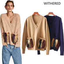 Withered 2018 BTS women sweater england style v-neck pockets tassel panelled  pullovers regular sweater 37967fd93a3c