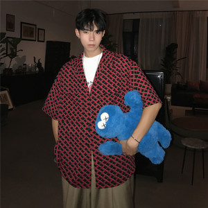 Image 4 - 2019 sommer männer Neue Muster Unregelmäßigen Gitter Druck Kurzarm Hawaiian Shirt Französisch Cuff Mens Marke Mode Shirts