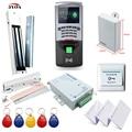 Huella digital de Control de Acceso RFID Kit Sistema de Marco de Cristal Conjunto de Puerta Eléctrica de Bloqueo Magnético + Tarjeta Keytab + fuente de Alimentación + botón + Timbre