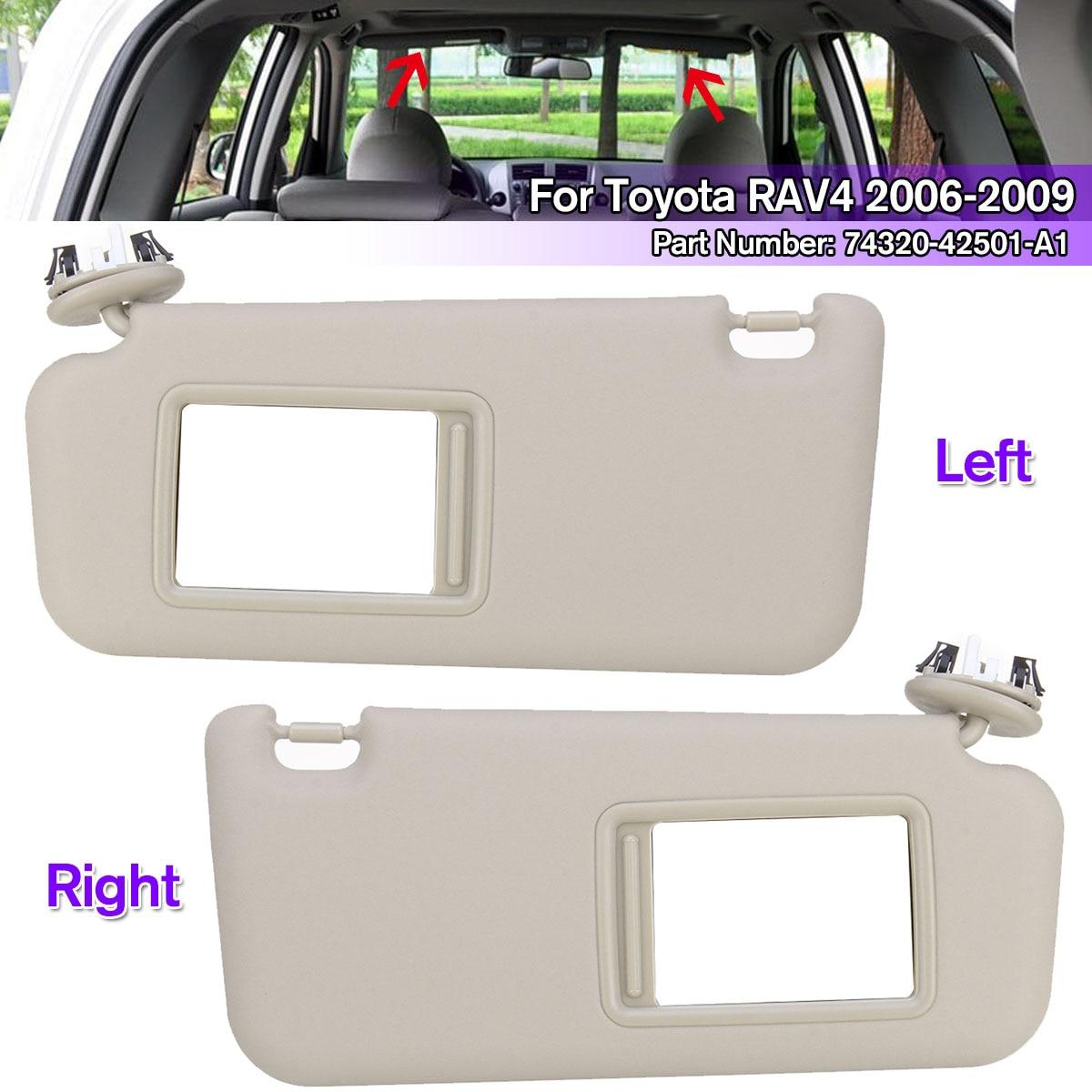 1 pièces accessoires de voiture gauche/droite pare-soleil Beige avec miroir de maquillage et vis pour Toyota RAV4 2006-2009